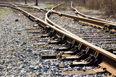 Joint , sleepers and rails railroad — Stock Photo