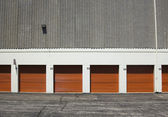 Red garage doors ; abstract industrial background — Stock Photo