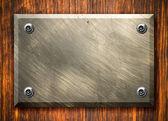 Door plate - Scratched metal surface — Stock Photo