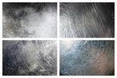 Set of scratched grunge metal textures — Stock Photo