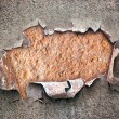 Hole on chipped paint with rusty metal texture — Stock Photo #9258794