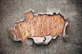 Hole on chipped paint with rusty metal texture — Stock Photo