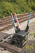 Leviers manuels pour modifier les points du rail — Photo