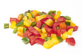 Mixture of chopped coloured Peppers — Foto de Stock
