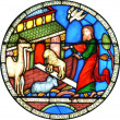 Foto Stock: Noahs Ark stained glass window
