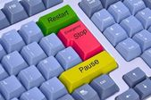 Emergency stop, pause & restart on keyboard — Stock Photo