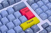 Emergency stop or pause on a computer keyboard — Stock Photo