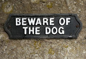 Beware of the dog sign — Stock Photo
