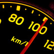 Close up of car speed meter — Stock Photo #10610308