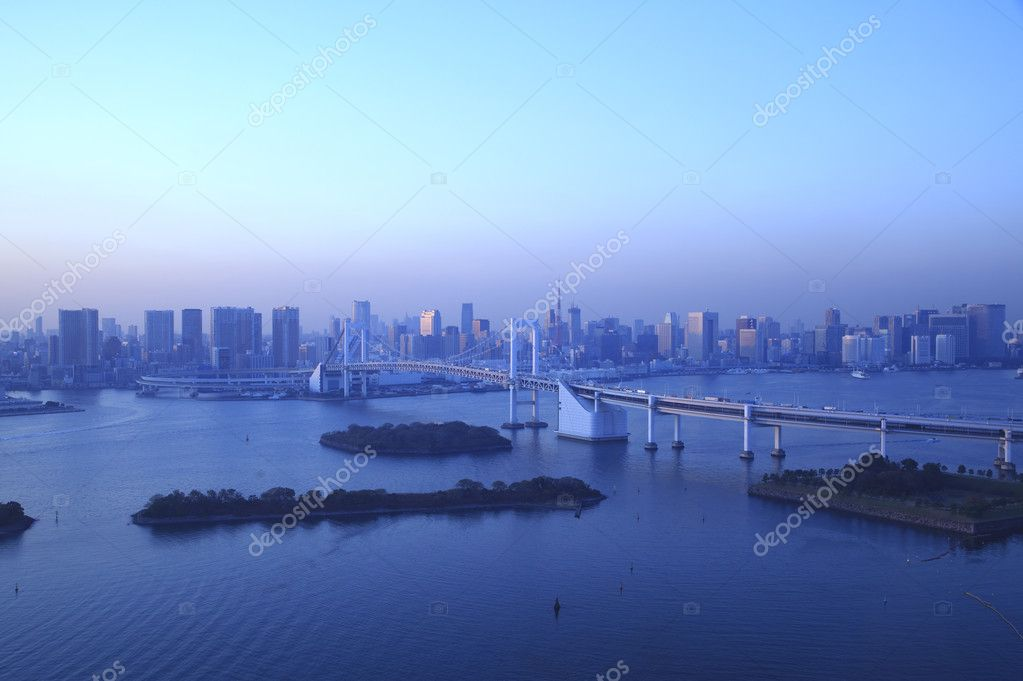 View of Tokyo downtown at night with Rainbow Bridge — Stock Photo #8812774