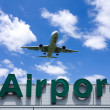 Stock Photo: Aeroplane Clouds And Airport sign