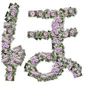 Japanese Characters hiragana, made from flower photo. — Stock Photo