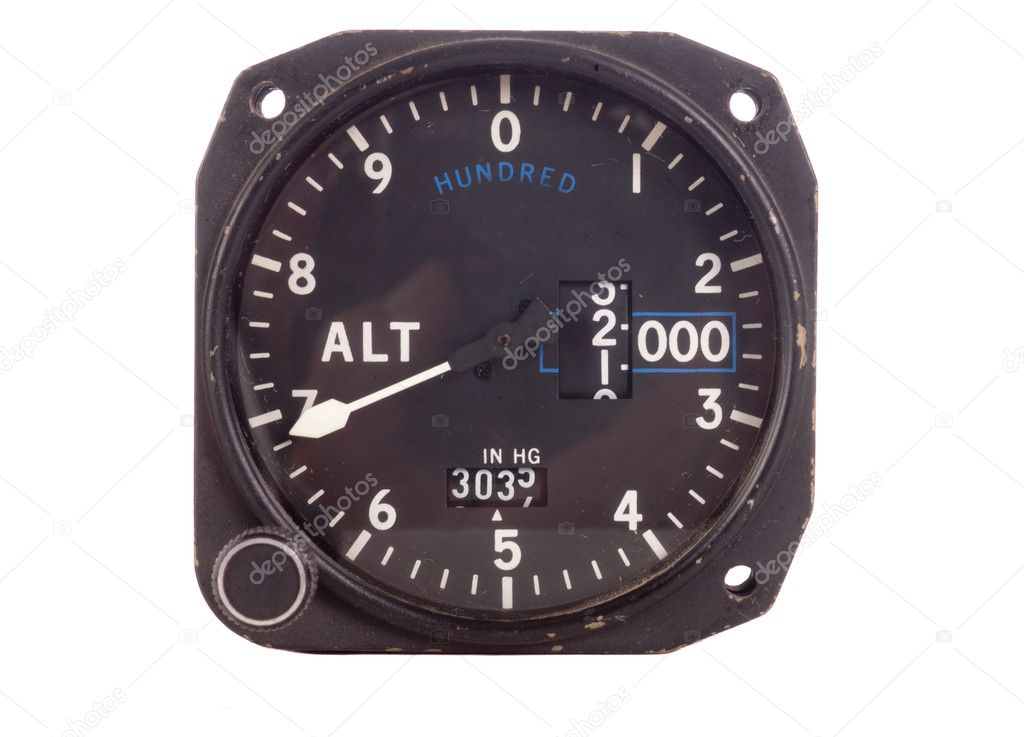 Antique aviation instrument (Altitude indicator)  on a white background — Stock Photo #10478153