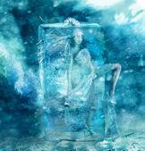 Fairy girl frozen in a block of ice — Stock Photo