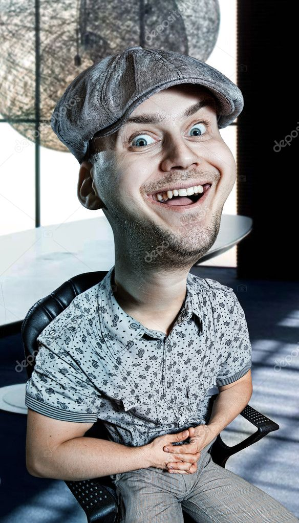 Hilarious portrait of a man dressed in gray shirt and a cap on his head that sits on a chair — Stok fotoğraf #8640735