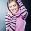 A beautiful young girl in a warm sweater — Stock Photo