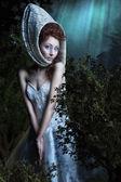 Söt vacker flicka med moonlight — Stockfoto