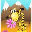 Royalty-Free Stock Vector Image: Cute giraffe  with a beautiful flower in his