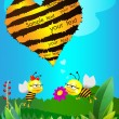 Stock Vector: Two lovers Bees congratulate each other on Valentine's Day