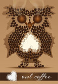 Owl of the coffee beans — Stock Vector