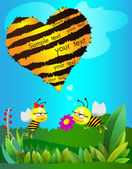 Two lovers Bees congratulate each other on Valentine's Day — Stock Vector