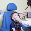 medical otitus examination of a child at a ear nose throat docto — Stock Photo