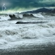 Storm and thunderstorm in black sea — Stock Photo