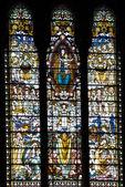 The mosaic window in basilique Notre Dame de Fourviere, Lyon, Fr — Stock Photo