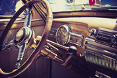 Inside in a old car — Stock Photo