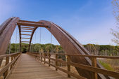 Arched wood bridge in forest — Stock Photo