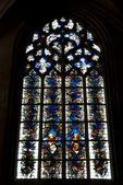 La ventana de mosaico en la catedral de saint-jean, lyon, francia. — Foto de Stock