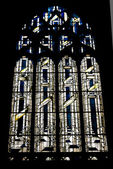 The mosaic window in cathedral of Saint-Jean, Lyon, France. — Stock Photo