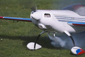 Smoke testing, airplane RC — Stock Photo