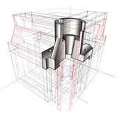 Draft of 3D Model — Stock Photo