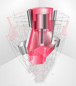 Вектор 3-е вождение металлической части, легкой редактируемый (визуальные пособия) — Cтоковый вектор