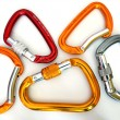 Climbing equipment- five multicolor carabiners - Stock Photo