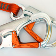 Climbing equipment - safety carabiners or quickdraws - Stock Photo