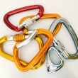 Climbing equipment - multicolor carabiners - Stock Photo