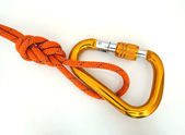 Climbing equipment - detail carabine and knot — Stock Photo