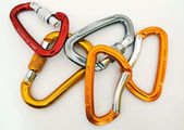 Climbing equipment - five multicolor carabiners — Stock Photo