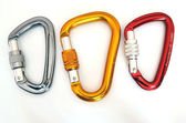 Climbing equipment - three multicolor carabiners — Stock Photo