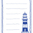 Stock Vector: Writing paper or letter paper with lighthouse