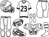 American Footbal Equipment - hand-drawn illustration — Stockvector