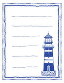 Writing paper or letter paper with lighthouse — Stock Vector
