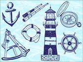 Nautical collection - hand-drawn illustration — Stock Vector
