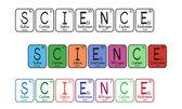 Tabla periódica de elementos - botones de ciencia — Vector de stock