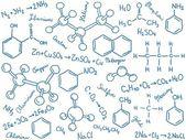 Sfondo di chimica - molecola modelli e formule — Vettoriale Stock