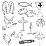 Christian hand-drawn symbols illustration — Stock Vector