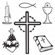 Christian hand-drawn symbols illustration - Stok Vektör