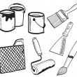 Royalty-Free Stock Vector Image: Painting accessories hand-drawn illustration